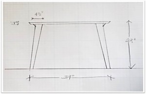 Free hand sketch of the table side view